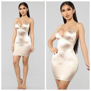 NWT Fashion Nova Champagne Satin Dress